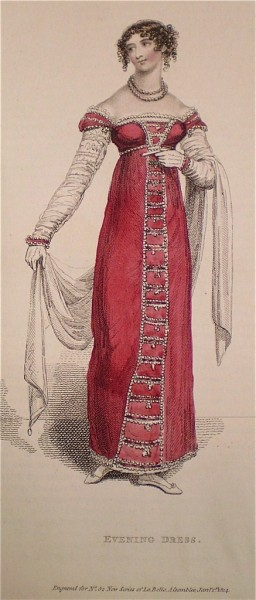 1814 January Red Evening Dress