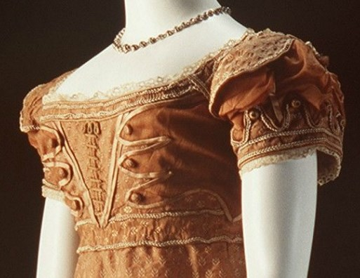 1820 Copper Evening Dress -bodice & sleeve