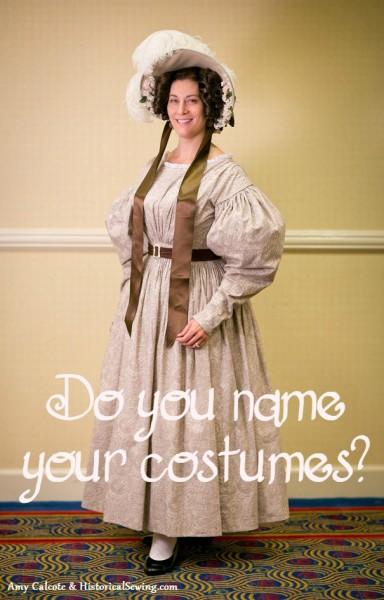 Jen in 1830s Paisley Dress