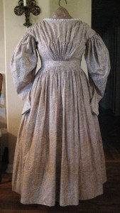 1830s Tan Paisley Dress