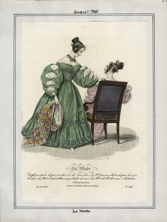 1835 Aug La Mode green dress