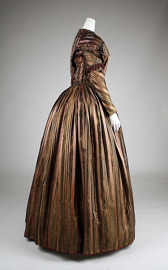 1842 Brown Silk Stripe Dress from the Met Museum