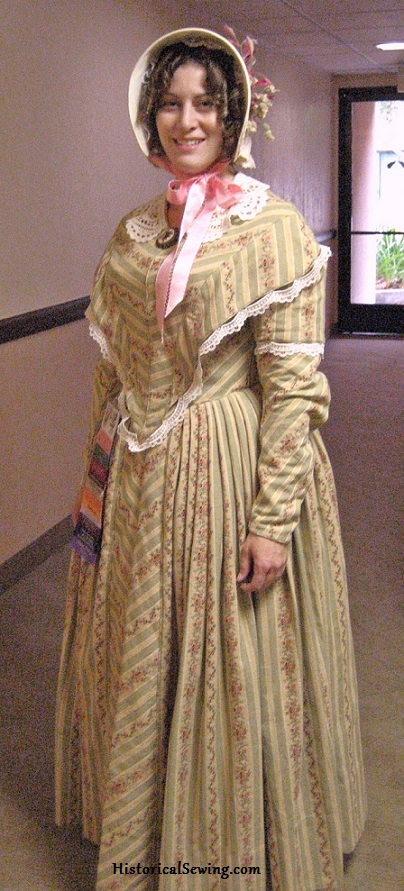 1844 Striped Dress | HistoricalSewing.com