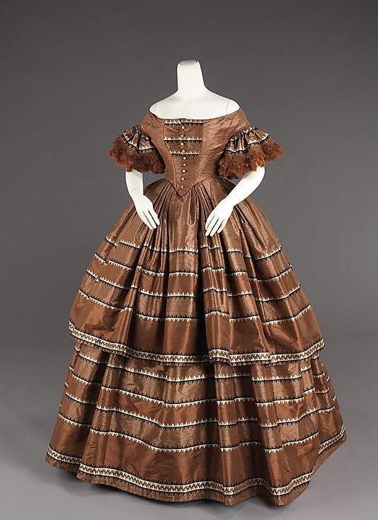 1858-59 Brown silk evening dress