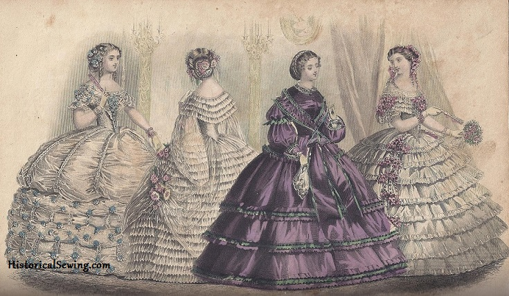 Dressed for a Party, September 1860, Godey's Lady's Book