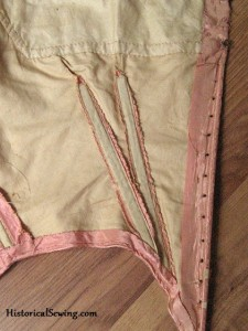 Original 1860s Bodice with darts sliced open before applying boning