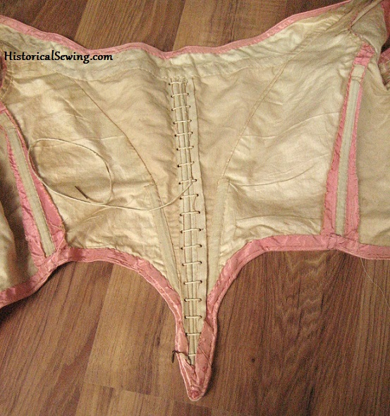 1860s Pink Bodice with cotton underlining