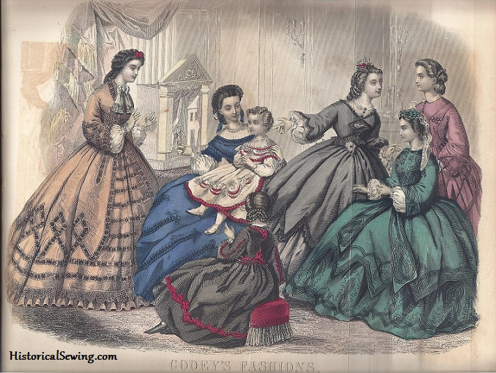 How to sit in a hoopskirt | HistoricalSewing.com 1863 October Godey's Lady's Book