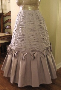 Just Keep Ruching, Ruching, Ruching…. The 1873 Blackberry Cream Dress