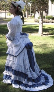 1875 Bustle Era sheer dress