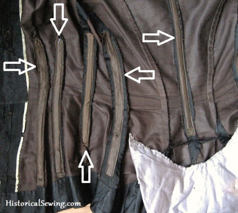Boning placement in an original 1880s bodice