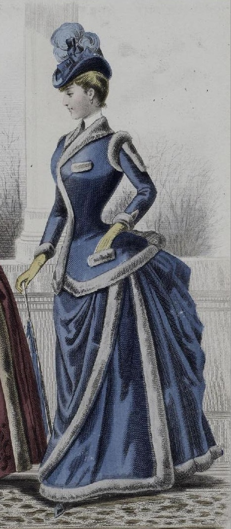 1880s Blue-purple walking dress with fur