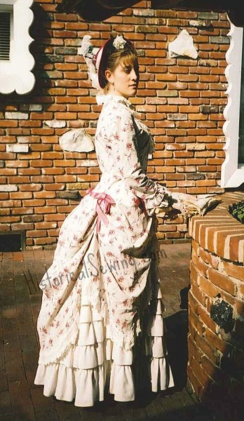 1883 Summer Rose Polonaise Tea Dress side