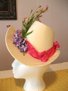 1886 Reproduction Hat From Chain Store Silk and Ribbon & Flower Trim
