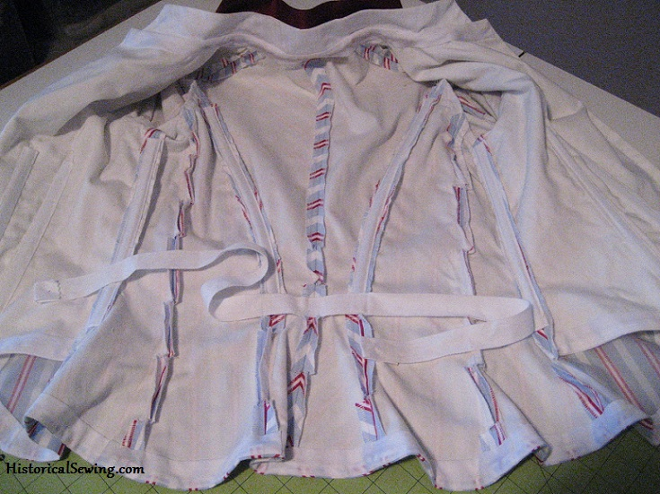 1887 reproduction bodice with cotton twill waist tape sewn to the back seams