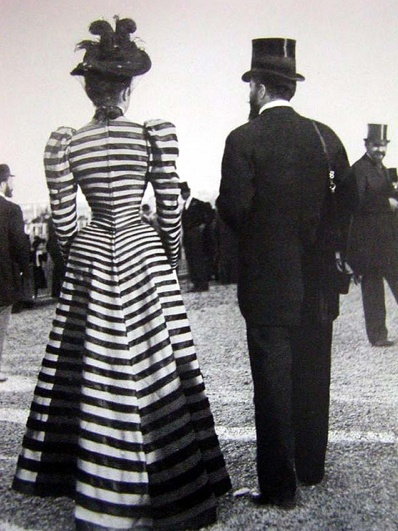 1890s striped dress as seen from the back