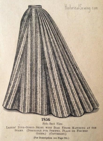1895 Nine-gored skirt w-bias edges