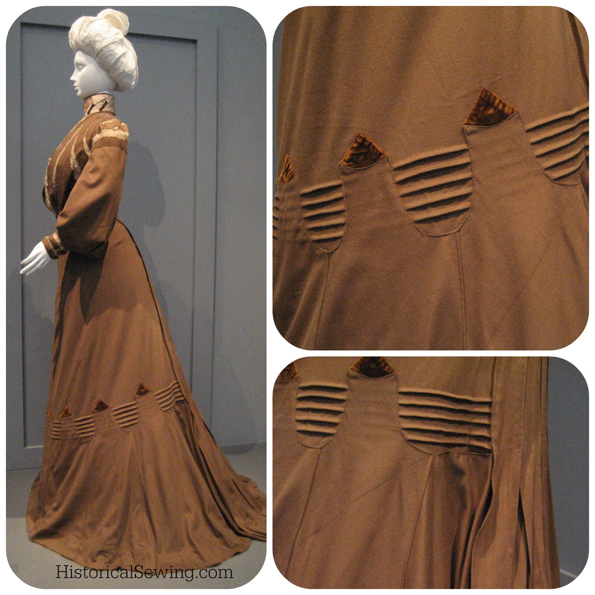 1900 Wool dress with tucks & tab trim