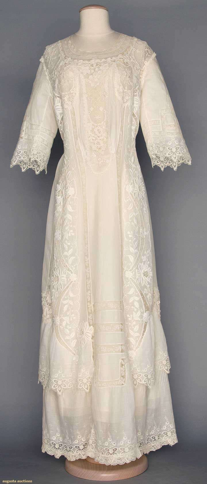 1910 White lace tea gown Augusta Auctions