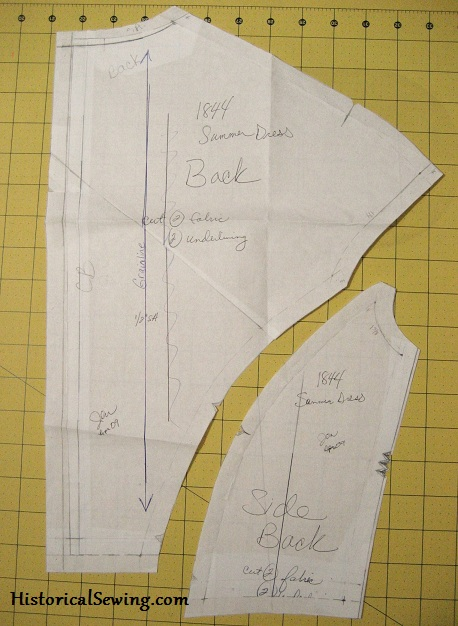 1844 Bodice Back Pattern Pieces
