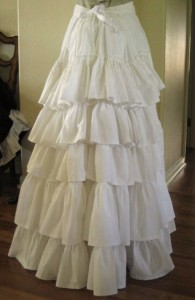 Ruffles on the back of a bustle petticoat