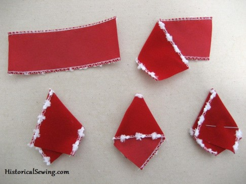 Forming the triangle petals for the 4th layer