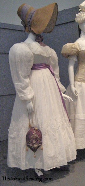 c.1830 Muslin Dress with Purple Silk Reticule