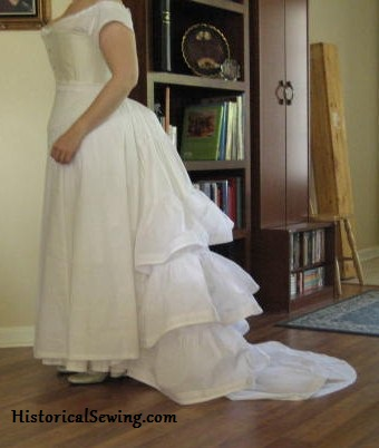Trained ruffled petticoat side view