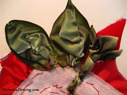 Leaves sewn to back on the edge of the crinoline