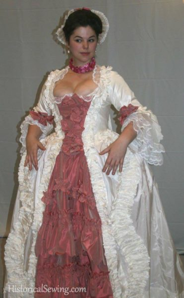Abby Cox in 1760s sacque gown
