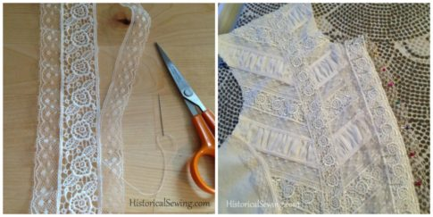 1880 Vanilla Dressing Gown|Adding lace to front placket