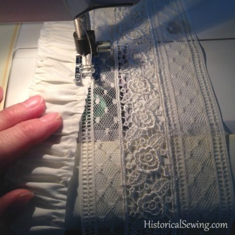 1880 Vanilla Dressing Gown|Adding the fabric strip