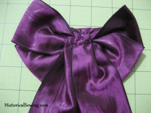 Back of hand made ribbon bow
