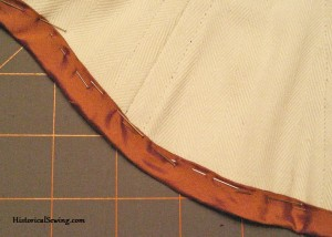 Binding pinned in place | Victorian Corset Class