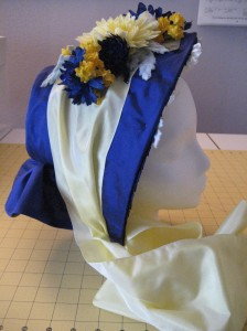 c.1860 Blue Silk Bonnet