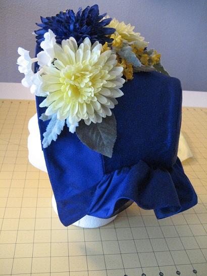 1860s Low Brim Bonnet With Flower Trim