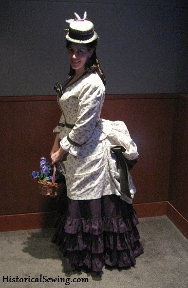 1871 Harvest Grape bustle dress in cotton fabrics