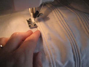 Sewing in the cording