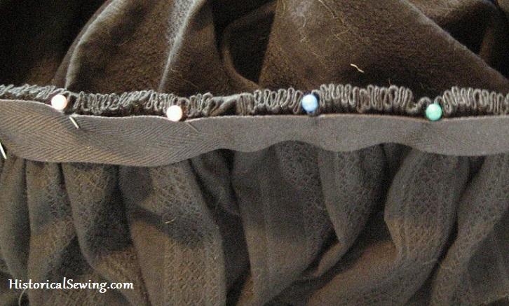 Cartridge pleats pinned