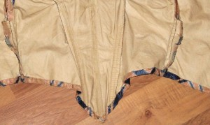 Inside of an original mid-19th C. ball gown bodice