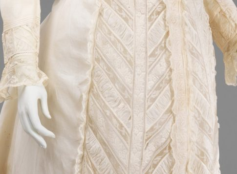 Detail of laces on 1885 Met Gown|1880 Vanilla Dressing Gown