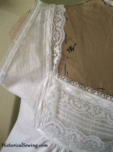 Edwardian Chemise Front Yoke Lace Trim