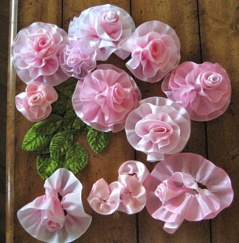 Handmade Roses from Chain Store Ribbon