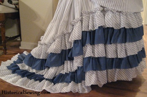 Finished Skirt Ruffles on 1870s Bustle Skirt