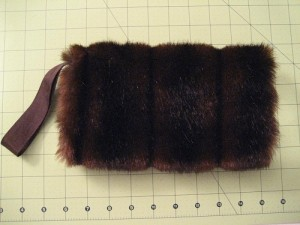 Brown Faux Fur Muff with Wrist Strap