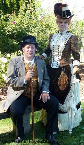 Victorian gentleman & lady in full accessories