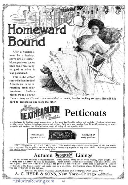 Heatherbloom Petticoats ad 1902