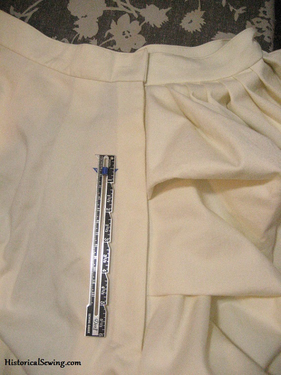 Completed hidden placket skirt opening