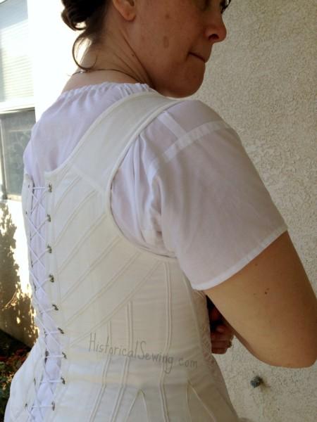 Back shoulder & strap on Regency corset