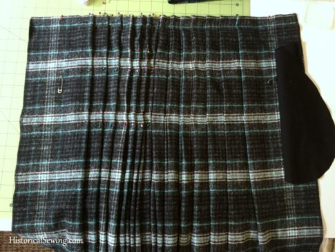 Chore Skirt - Pleating up the back -basted and pinned